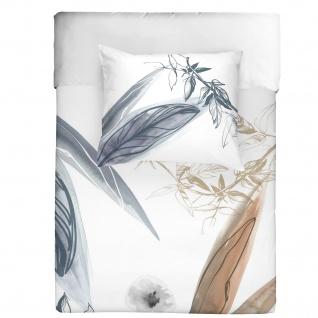 WALRA Baumwoll Bettwäsche Canvas of Nature weiss Wendeoptik Blumenmuster