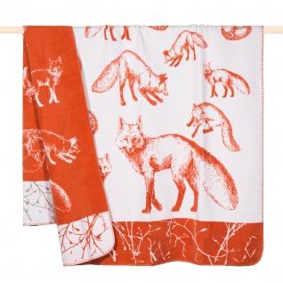 PAD Wohndecke Kuscheldecke FOX Orange 150 x 200 cm Fuchs Motiv Baumwollmischung