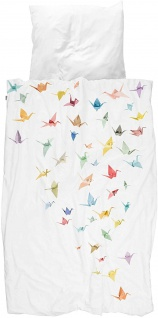 SNURK Bio-Bettwäsche Crane Birds weiß Kraniche Digitaldruck 135 x 200 cm - Vorschau 2