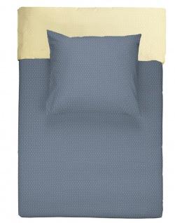 WALRA Flanell Bettwäsche B Little Diamonds dunkelblau / ockergelb Wendeoptik 100 % Baumwolle fein gemustert - Vorschau 2