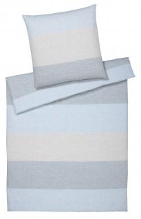 elegante Halbleinen Bettwäsche Sense 7078-02 Blue mit Blockstreifen mit RV