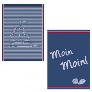 Ross 2-er Geschirrtücher Set 1807-Maritim Moin Moin 100% Baumwolle 50 x 70 cm