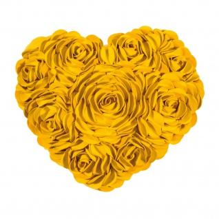 Pad runde Kissenhülle HEART 34 x 40 cm yellow Rosenapplikationen Herzform