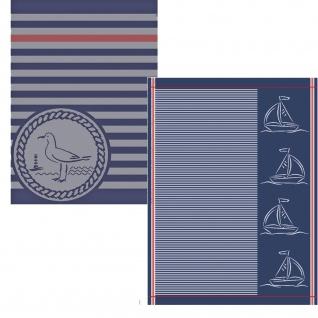Ross 2-er Geschirrtücher Set Möwe & Segelboote 100% Baumwolle 50 x 70 cm