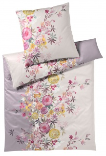 elegante Seiden-Satin Bettwäsche Kimono mauve Blumenmuster exklusiv