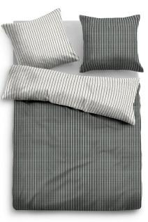 Tom Tailor Melange Flanell Bettwäsche Streifen 849791-821 schwarz 100% Baumwolle