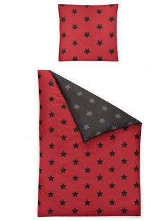 Irisette Feinbiber Bettwäsche Dublin 8658-60 rot Sterne wärmend 100% Baumwolle