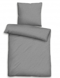 Biberna Baumwoll-Jacquard-Satin Bettwäsche Grafik titanium 100% Baumwolle einfarbig