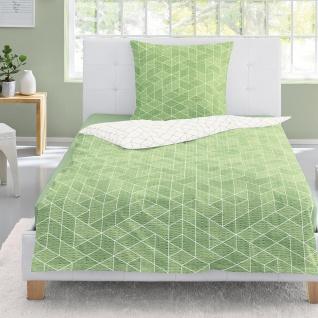 Irisette Seersucker Bettwäsche Calypso 8269-30 grün geometrisch 100% Baumwolle
