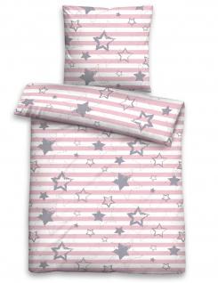 Biberna Biber Kinderbettwäsche 7234-140 rosa Sterne & Streifen wärmend bügelfrei