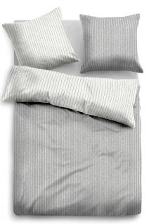 Tom Tailor Melange Flanell Bettwäsche Streifen 849791-844 grau 100% Baumwolle