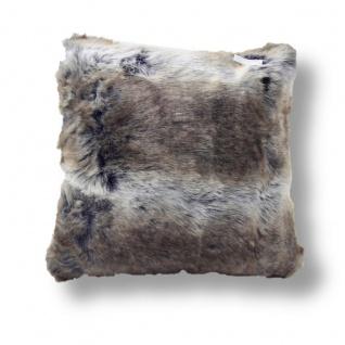 Eskimo Chinchilla Fellimitat Kissen meliert 45 x 45 cm braun / grau - Vorschau 1