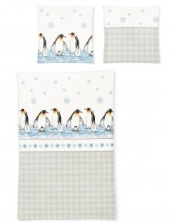 Irisette Biber Bettwäsche 8311-11 Pinguine wärmend 100 % Baumwolle 135 x 200 cm