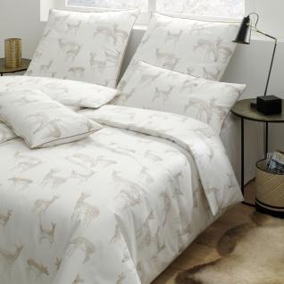 Elegante Mako-Satin Bettwäsche Glitter 2279-0 weißgold Rehe Muster exklusiv