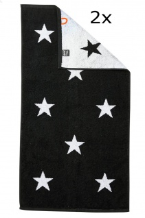 done.® DAILY SHAPES STARS Handtuch Set 2-tlg. black Frottee 100% Baumwolle