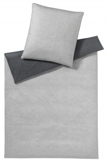 elegante 3-tlg. Satin Bettwäsche CANVAS 6034-9 graphit Wendeoptik 100% Baumwolle
