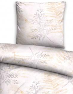 Biberna Jersey Bettwäsche 75844-019 grau-beige florales Muster Farnblätter - Vorschau 2