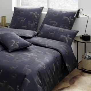 elegante Comfort-Satin Bettwäsche Glitter 2279-2 nachtblau Rehe Motiv exklusiv