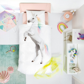 SNURK Kinder-Bettwäsche Unicorn - Einhorn 135 x 200 cm Digitaldruck Bio Cotton - Vorschau 2