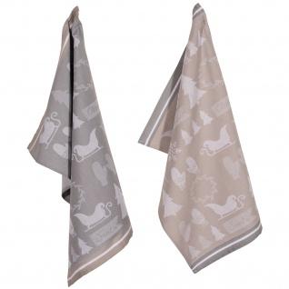 PAD Geschirrtuch Wrapping 2-er Packung 50 x 70 cm grau Baumwolle weihnachtlich