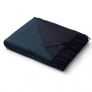 Biederlack Wolle-Kaschmir Plaid Dark Velvet türkis-marine 130 x 170 cm