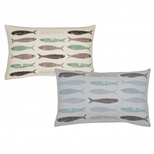 pad Kissenhülle Fish 30 x 50 cm Fischmotive 100% Baumwolle grob gewebt bedruckt