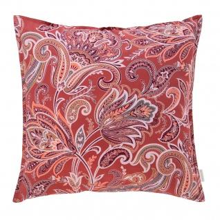 Estella Home Mako Satin Deko-Kissen Milano 50 x 50 cm 100% Baumwolle floral rot