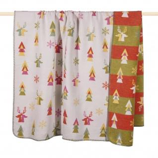 PAD Wohndecke Pine Multi 150 x 200 cm Baumwollmischung weich Weihnachten Bunt