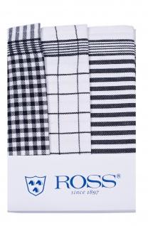 Ross 3-er Pack Baumwoll-Geschirrtuch Exclusiv schwarz 50 x 70 cm