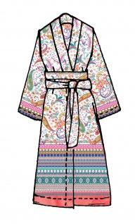 Bassetti Granfoulard Damen-Kimono Burano R1 rosa Ornamente Baumwollsatin