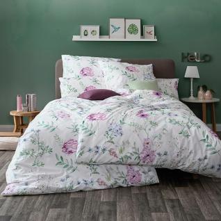 Estella Mako-Satin Bettwäsche Mary 7348-620 flieder 100% Baumwolle Blumenmuster