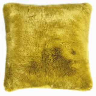 Pad Kissen SHERIDAN Felloptik mustard 45 x 45 cm modern mit Reißverschluss