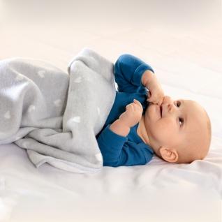 Biederlack Kinder und Baby Kuscheldecke Love 75 x 100 cm hellgrau Baumwollmischung