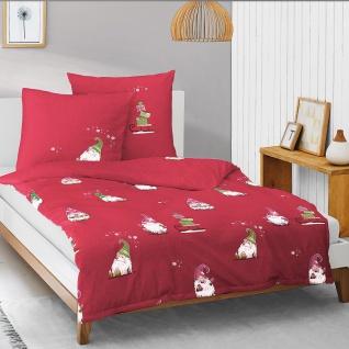 Irisette Biber Bettwäsche Dublin 8778-60 rot Wichtel 100% Baumwolle wärmend