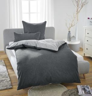 Biberna Melange-Flanell Bettwäsche 840500-020 Titanium Uni Wendeoptik wärmend