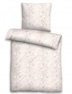 Biberna Edelflanell Bettwäsche 85123-544 Blätter taupe 100 % Baumwolle wärmend - Vorschau 1
