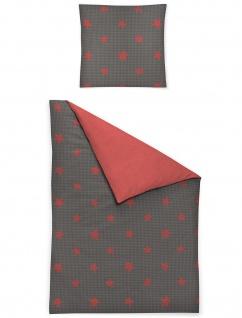 Irisette Biber Bettwäsche Dublin 8334-60 rot Sterne weich wärmend