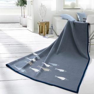 Biederlack Decke Soft Cotton Fische 150 x 200 cm blau aus Baumwollmischung