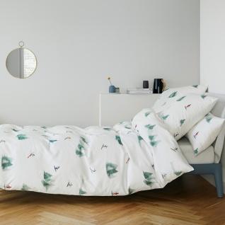 elegante Mako-Satin Bettwäsche 2304-0 ABFAHRT Schneeweiss aus 100% Baumwolle