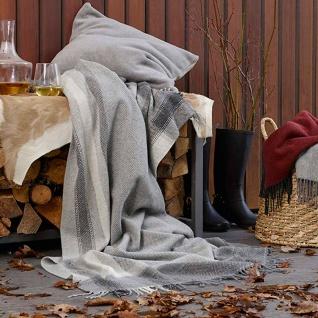 Biederlack Plaid Karorahmen grau 130 x 170 cm Wolle-Kaschmir Fransen - Vorschau 3