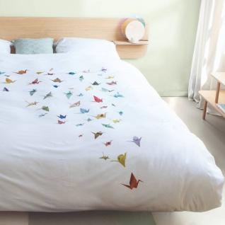 SNURK Bio-Bettwäsche Crane Birds weiß Kraniche Digitaldruck 135 x 200 cm