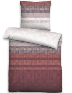 Biberna Baumwollsatin Bettwäsche 636055-537 Streifen-Quadrate rost Baumwolle