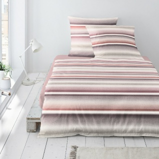 Irisette Biber Bettwäsche Davos 8016-70 Streifenverlauf-Muster 100% Baumwolle