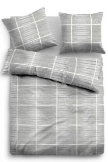 Tom Tailor Flanell Bettwäsche Kacheln 9877-844 grey aus 100 % Baumwolle