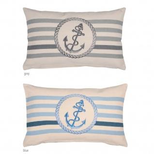 pad Kissenhülle Sea 30 x 50 cm maritim Anker und Streifen mit RV Baumwolle