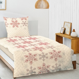 Irisette Biber Bettwäsche Davos Eiskristalle rot 8007-60 aus 100 % Baumwolle