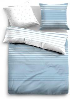 Tom Tailor Baumwolle Bettwäsche 69836-800 in weiß-blau 135 x 200 cm Streifen