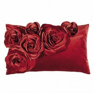 PAD Kissenhülle Floral 30 x 50 cm red mit Blumen Aplikation plus Kissenfüllung