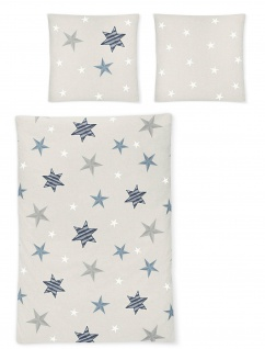Irisette Fein- Biber Bettwäsche 8657-20 grau Sterne wärmend 100% Baumwolle