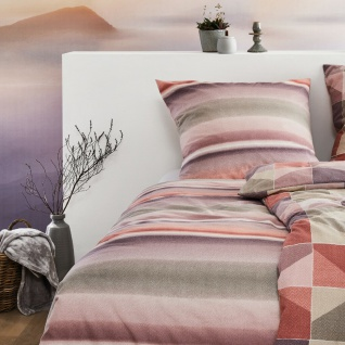 Irisette Biber Bettwäsche Davos 8016-70 Streifenverlauf-Muster 100% Baumwolle - Vorschau 3